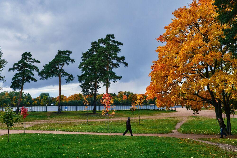 Kolemjdoucí se prochází v parku nedaleko Suzdalských jezer