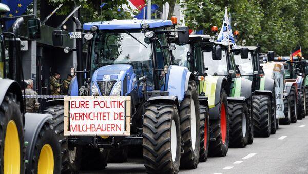 Akce protestů farmářů v Bruselu - Sputnik Česká republika