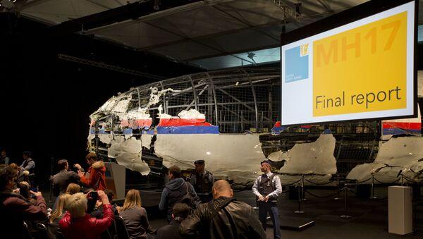 Úlomky Boeingu 777 během prezentace výsledků vyšetřování katastrofy letu MH17 - Sputnik Česká republika