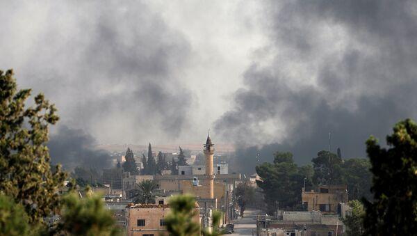 Kouř nad syrským městem Tell Abyad - Sputnik Česká republika