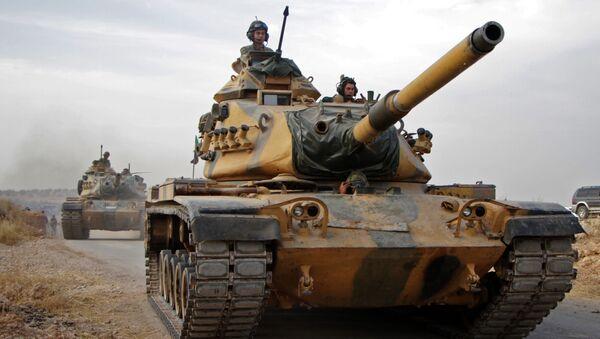 Turečtí vojáci s americkými tanky M60 v Sýrii - Sputnik Česká republika