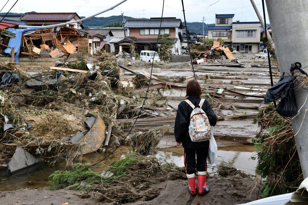 Následky tajfunu Hagibis v Japonsku.