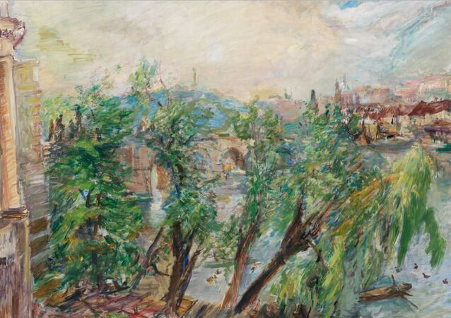Obraz Oskara Kokoschky s názvem Praha – Pohled z křižovnického kláštera