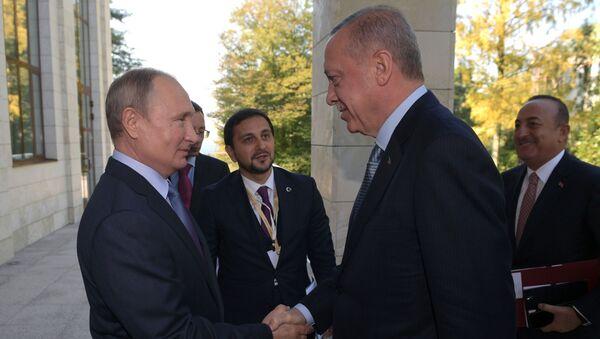 Ruský prezident Vladimir Putin a turecký prezident Recep Tayyip Erdogan během setkání v Soči 22. října 2019 - Sputnik Česká republika
