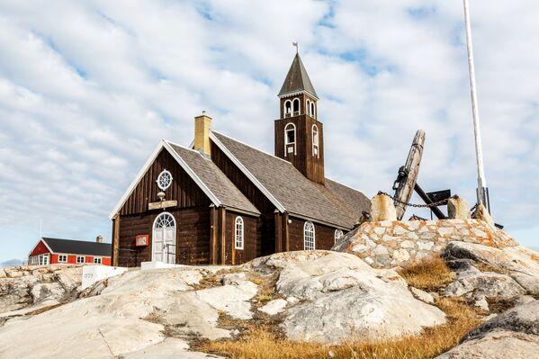 Luteránský kostel ve městě Ilulissat na ostrově Grónsko. - Sputnik Česká republika