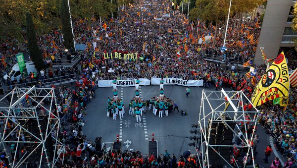 V Barceloně probíhají protestní akce na podporu odsouzených politiků - Sputnik Česká republika