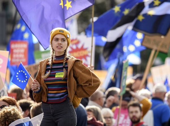 Protesty proti Brexitu v Londýně. - Sputnik Česká republika