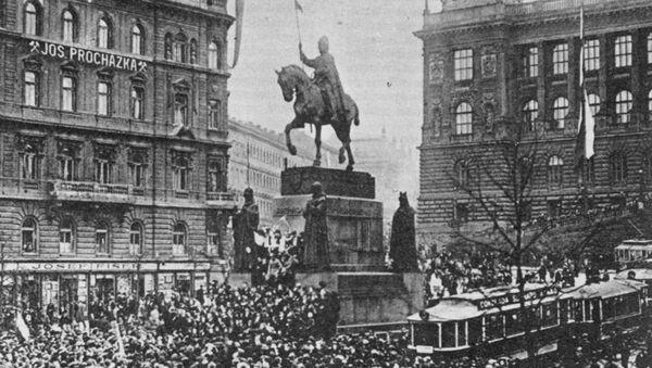 Mítink na Václavském náměstí v Praze dne 28. října 1918 - Sputnik Česká republika