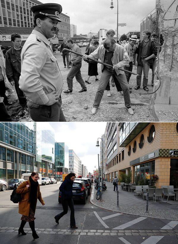 Horní snímek zachycuje muže, který se snaží zničit část Berlínské zdi na ulici Markgrafen Strasse/Rudi-Dutschke Strasse (dne 2. června 1990). Dolní snímek zachycuje stejné místo ze dne 30. října 2019. - Sputnik Česká republika