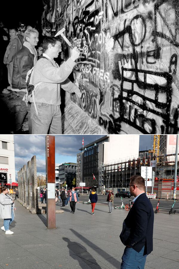 Horní snímek zachycuje muže, který ničí Berlínskou zeď kladivem (dne 9. listopadu 1989). Dolní snímek zachycuje stejné místo ze dne 30. října 2019. - Sputnik Česká republika