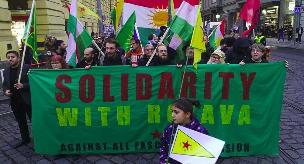 Pražský protest proti turecké invazi v Sýrii