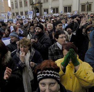 Učitelé protestují proti neodpovídajícím platům v Praze, 2007