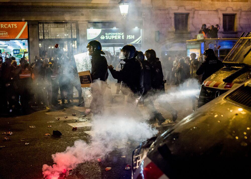 Protestní akce v Barceloně