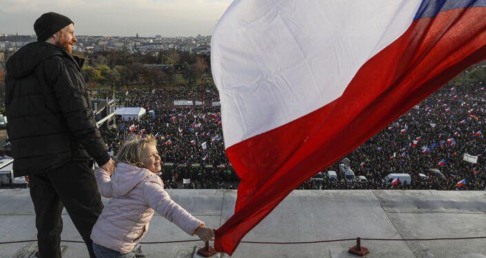 Protivládní protest v Praze v České republice
