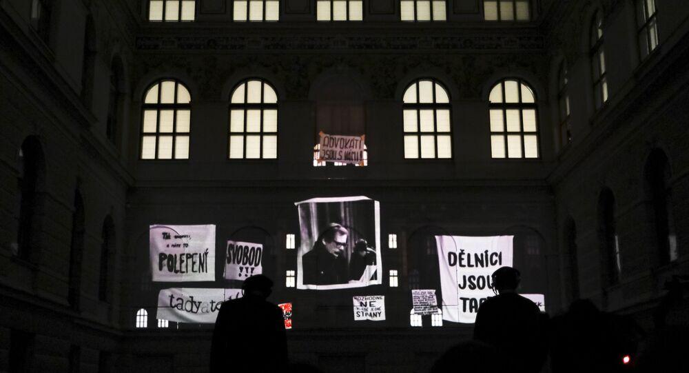 Fotografie prvního prezidenta České republiky Václava Havla v Národním muzeu v Praze