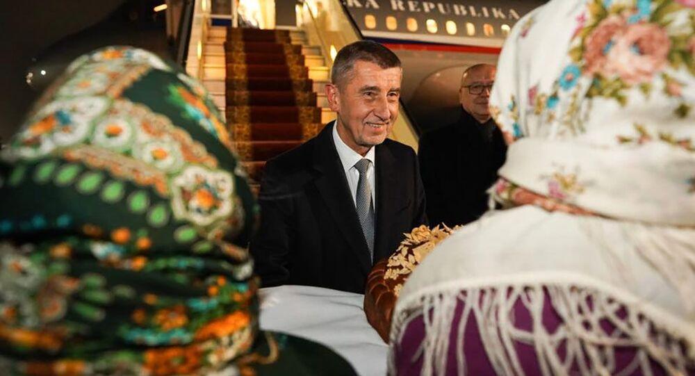 Český premiér Andrej Babiš po příletu do Kyjeva