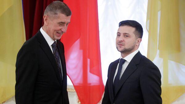 Český premiér Andrej Babiš a ukrajinský prezident Vladimir Zelenskij v Kyjevě - Sputnik Česká republika