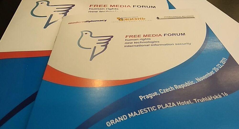 Leták mezinárodního mediálního fóra v Praze