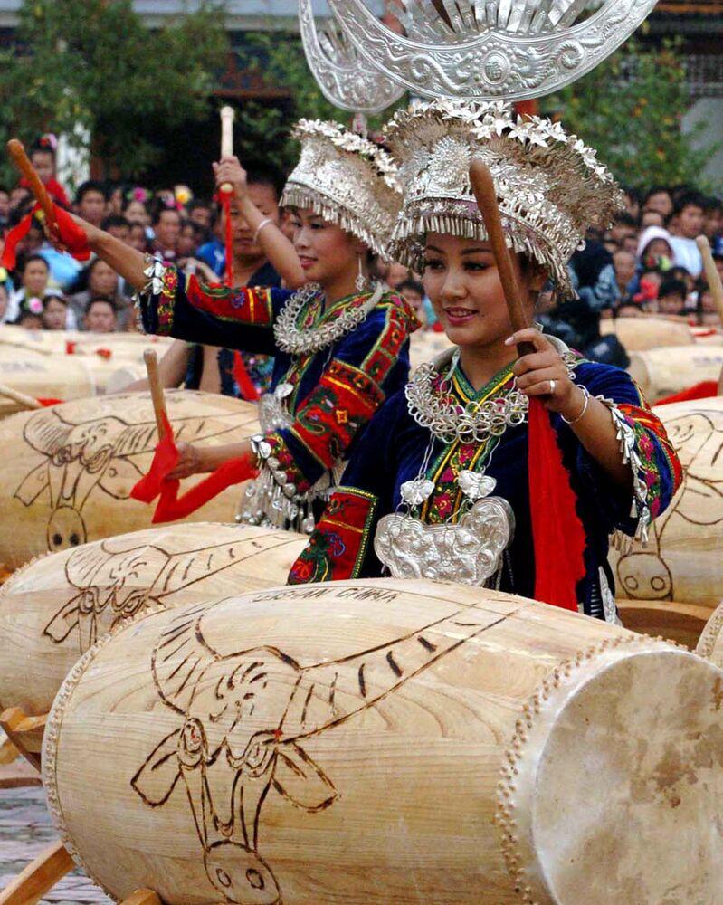 Miaové oslavují Nový rok (Provincie Kuej-čou, Čína)