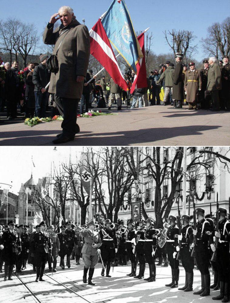 Pochod legionářů SS v Rize a pochody esesáků v době Druhé světové války