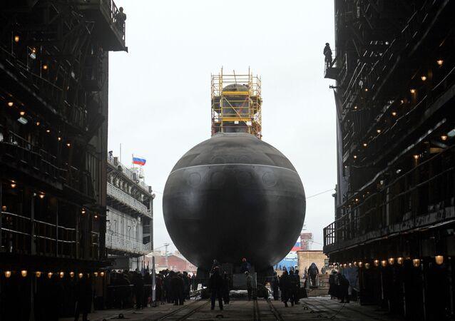 Slavnostní spuštění na vodu ponorky Petropavlovsk-Kamačtskij projektu 636.3 v Petrohradě