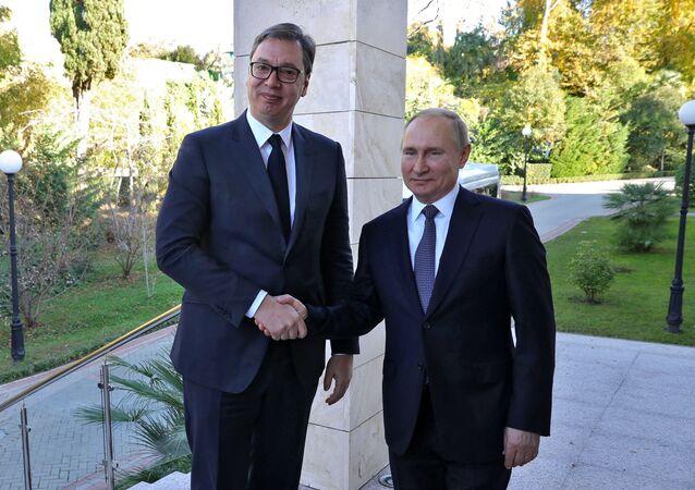Prezident Srbska Aleksandar Vučić a prezident Ruska Vladimir Putin