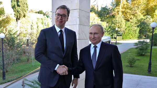 Prezident Srbska Aleksandar Vučić a prezident Ruska Vladimir Putin - Sputnik Česká republika