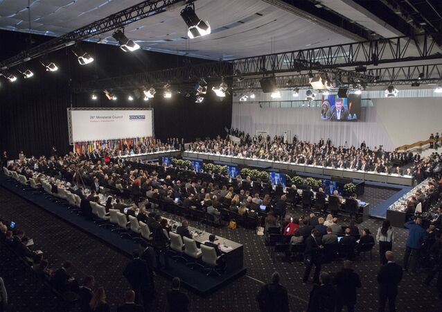 Representatives attend the OSCE, or Organization for Security and Co-operation in Europe Ministerial Council in Bratislava, Slovakia, Thursday, Dec. 5, 2019