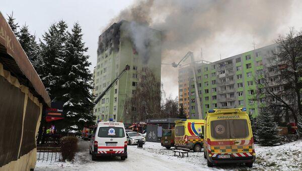 Požár po výbuchu v Prešově - Sputnik Česká republika