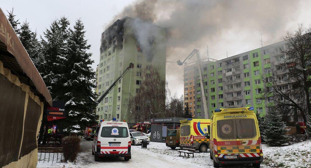 Požár po výbuchu v Prešově