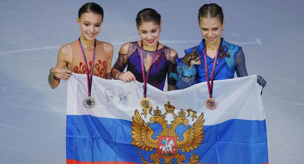 Ruské krasobruslařky obsadily celé pódium ve finále Grand Prix v Turínu