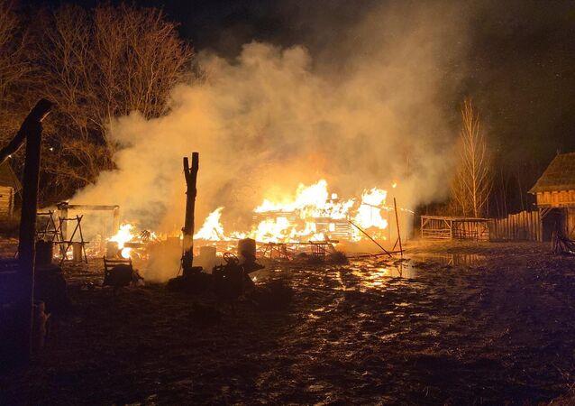 Požár v pražských Řeporyjích