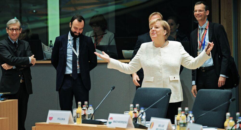 Německá kancléřka Angela Merkelová na summitu EU v Bruselu