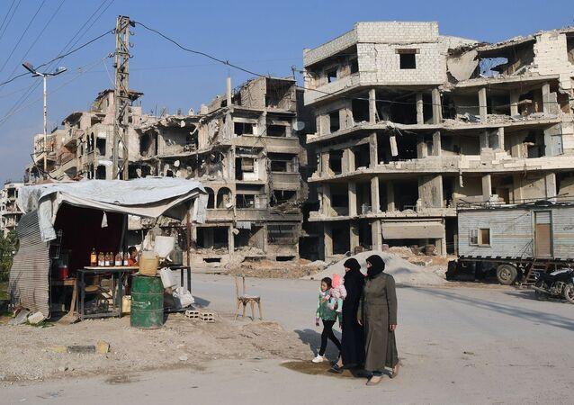 Prodej paliva na předměstí v Damašku