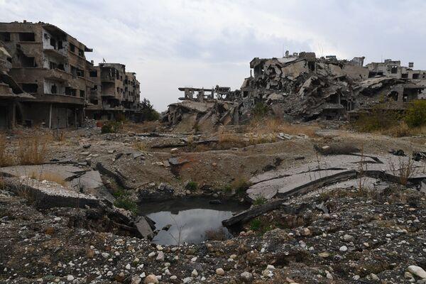 Předměstí Jobaru, které bylo po dlouhou dobu pod kontrolou teroristů. - Sputnik Česká republika