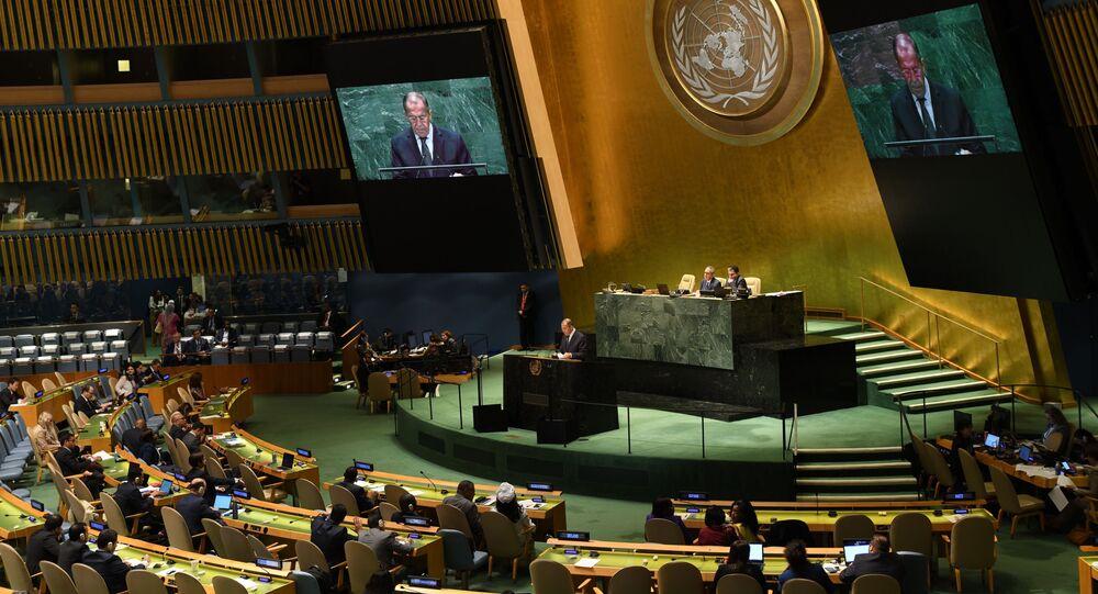 Projev ruského ministra zahraničí Sergeje Lavrova na Valném shromáždění OSN