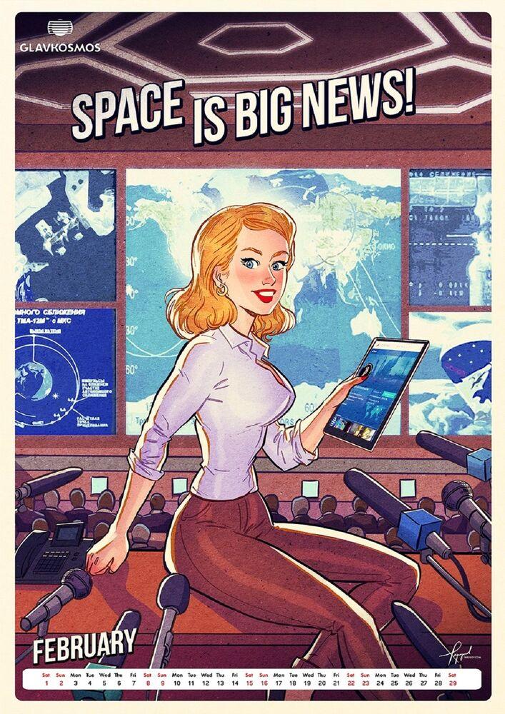 Pin-up kalendář pro Roskosmos: Let's go to space (Vyrazme do vesmíru)