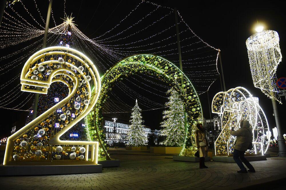 Iluminace na Lubjanském náměstí v Moskvě