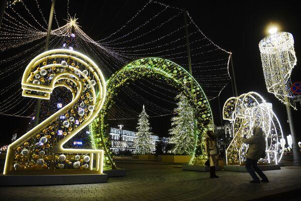 Iluminace na Lubjanském náměstí v Moskvě - Sputnik Česká republika