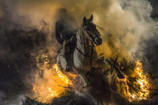 Jezdec projíždí ohněm během každoročního festivalu Las Luminarias ve španělské vesnici San Bartolome de Pinar - Sputnik Česká republika
