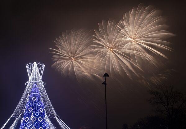 Ohňostroj nad vánočním stromem v Litvě - Sputnik Česká republika