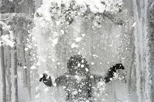 Žena v zasněženém lese na břehu řeky Jenisej - Sputnik Česká republika