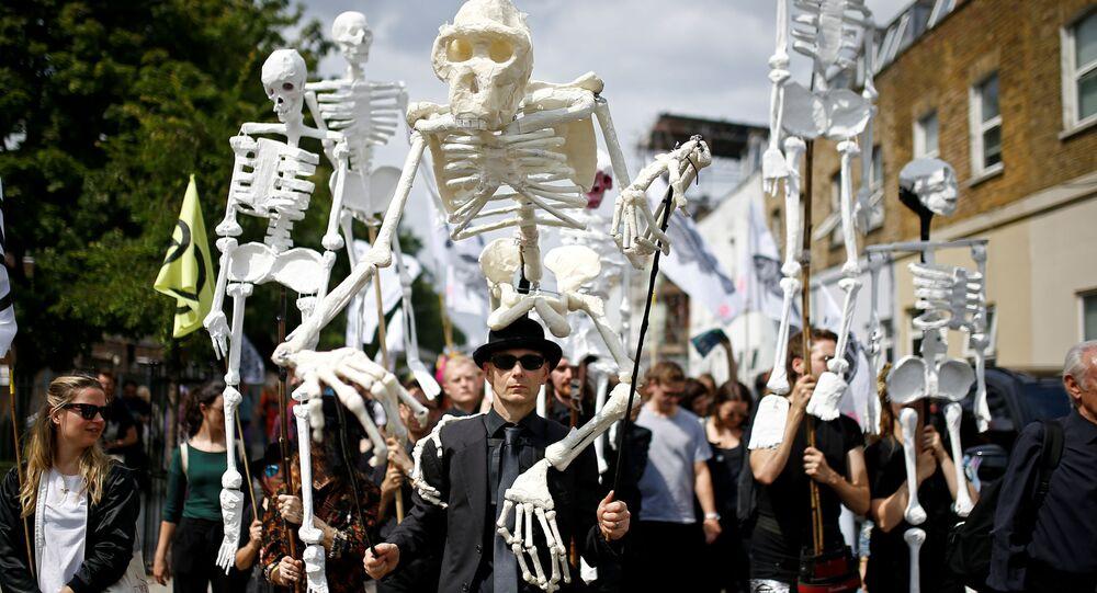 Pochod aktivistů Rebélie proti vyhynutí (Extinction Rebellion) v Londýně (13. 7. 2019)