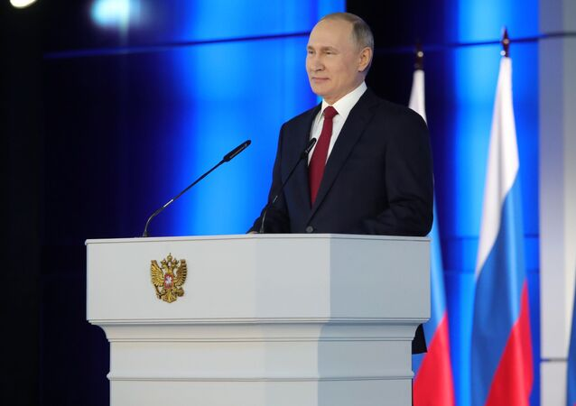 Ruský prezident Vladimir Putin vystupuje s každoročním posláním k Federálnímu shromáždění (15. 1. 2020)