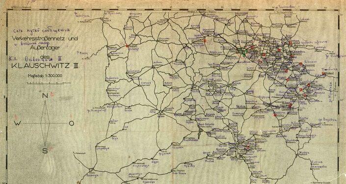 Schéma německé sítě komunikačních linek mezi koncentračními tábory v Polsku