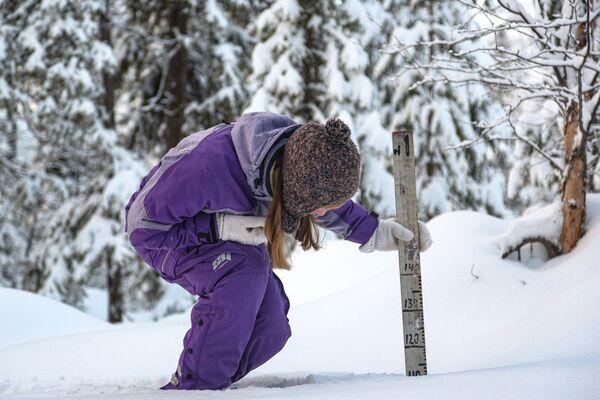 Zaměstnanec Laponské přírodní rezervace měří sněhovou pokrývku - Sputnik Česká republika