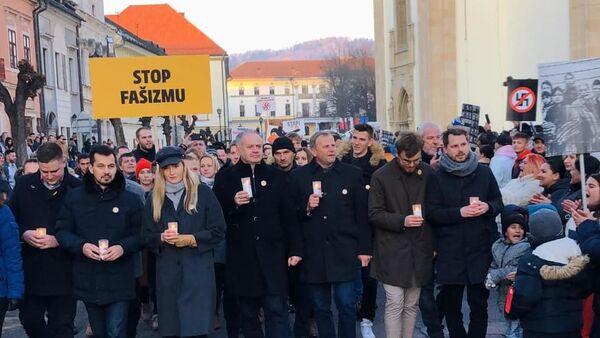 Protest v Levoči 21. ledna 2020 proti fašizmu - Sputnik Česká republika