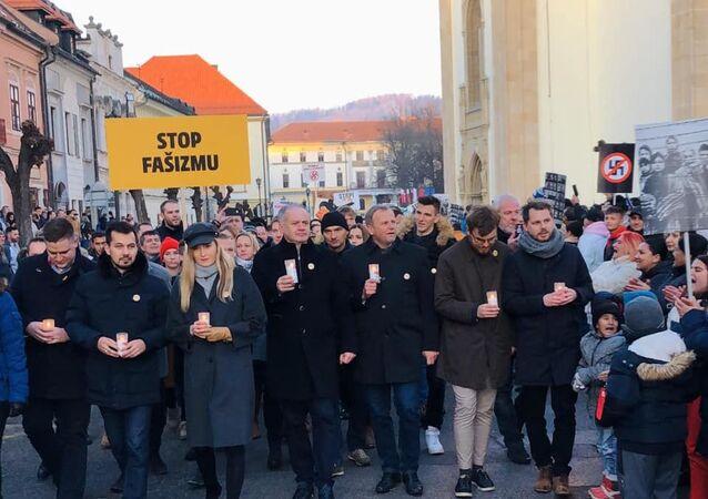 Protest v Levoči 21. ledna 2020 proti fašizmu