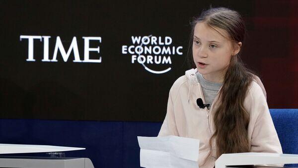 Švédská klimatická aktivistka Greta Thunbergová se účastníse účastní výroční schůzky 50. Světového ekonomického fóra (WEF) v Davosu ve Švýcarsku 21. ledna 2020 - Sputnik Česká republika