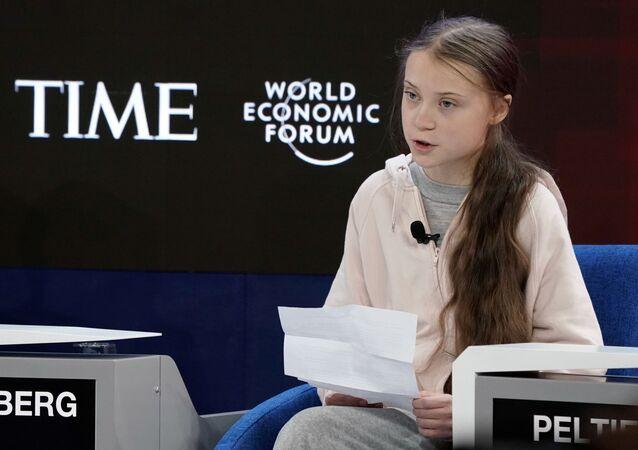 Švédská klimatická aktivistka Greta Thunbergová se účastníse účastní výroční schůzky 50. Světového ekonomického fóra (WEF) v Davosu ve Švýcarsku 21. ledna 2020